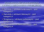 podkategorie dla kategorii licencji mechanika lotniczego