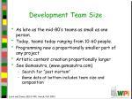 development team size