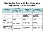 igualdad de trato y no discriminaci n reg menes promocionales