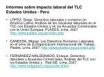 informes sobre impacto laboral del tlc estados unidos per