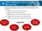 su311 recipe for cultural change one bite at a time
