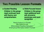 two possible lesson formats
