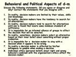 behavioral and political aspects of d m1