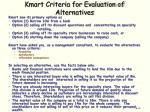 kmart criteria for evaluation of alternatives