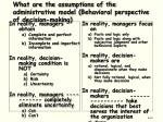 what are the assumptions of the administrative model behavioral perspective of decision making