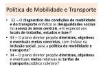 pol tica de mobilidade e transporte