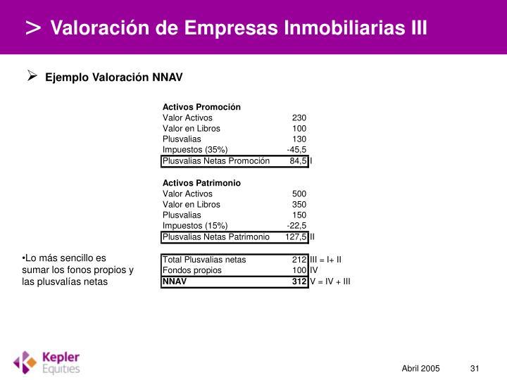 Valoración de Empresas Inmobiliarias III