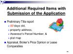additional required items with submission of the application