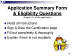 application summary form eligibility questions pages 5 16 of the application
