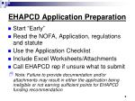 ehapcd application preparation