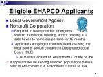 eligible ehapcd applicants