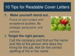 10 tips for readable cover letters