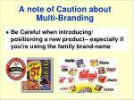 a note of caution about multi branding