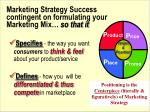 marketing strategy success contingent on formulating your marketing mix so that it