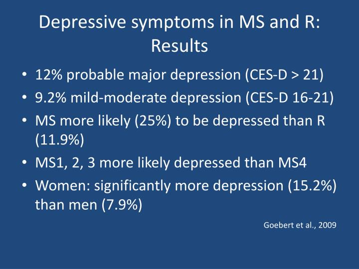 Depressive symptoms in MS and R: Results