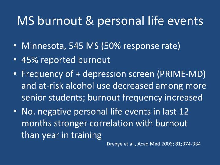 MS burnout & personal life events