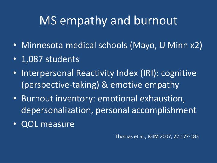 MS empathy and burnout