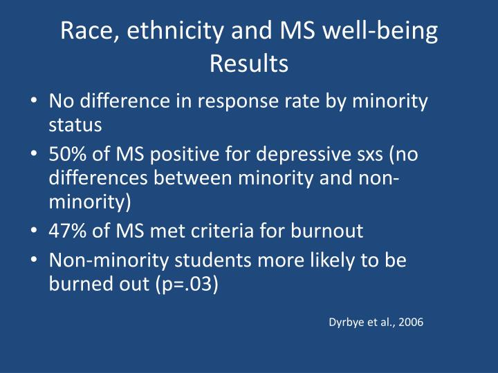 Race, ethnicity and MS well-being
