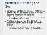hurdles in attaining this goal