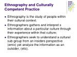 ethnography and culturally competent practice
