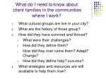what do i need to know about client families in the communities where i work