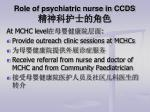 role of psychiatric nurse in ccds