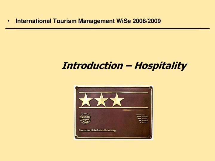 introduction hospitality n.