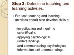 step 3 determine teaching and learning activities