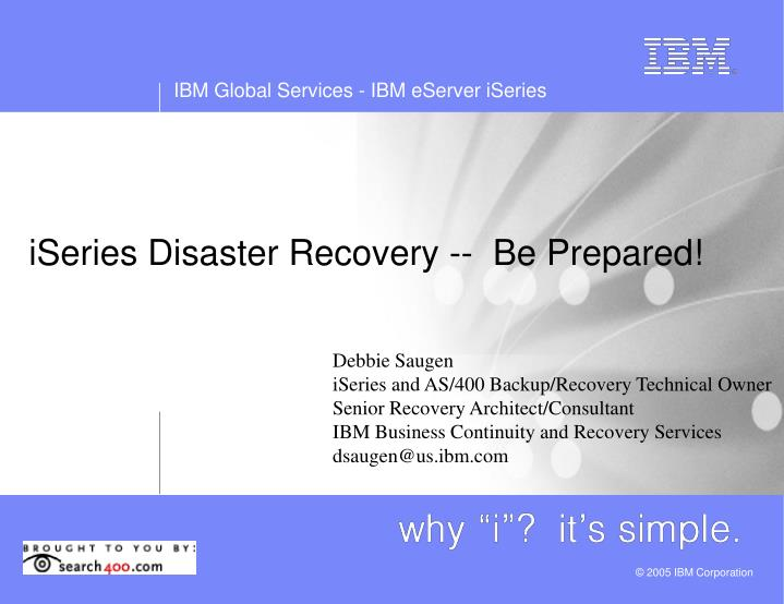 iseries disaster recovery be prepared n.