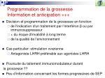 programmation de la grossesse information et anticipation