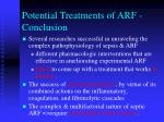 potential treatments of arf conclusion