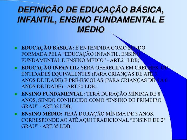 DEFINIÇÃO DE EDUCAÇÃO BÁSICA, INFANTIL, ENSINO FUNDAMENTAL E MÉDIO
