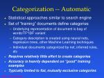 categorization automatic