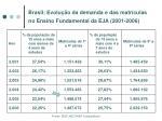brasil evolu o da demanda e das matr culas no ensino fundamental da eja 2001 2006