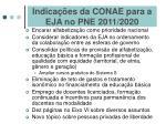 indica es da conae para a eja no pne 2011 2020