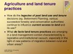 agriculture and land tenure practices