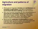 agriculture and patterns of migration