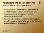 agriculture and social networks and patterns of cooperation