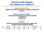 struttura delle aliquote es imposta sul reddito y
