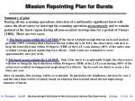 mission repointing plan for bursts