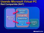 usando microsoft virtual pc red compartida nat