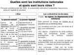quelles sont les institutions nationales et quels sont leurs r les