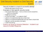 grid security incident vs grid security event
