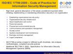 iso iec 17799 2000 code of practice for information security management