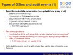 types of gsinc and audit events 1