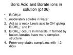 boric acid and borate ions in solution p106