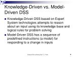 knowledge driven vs model driven dss
