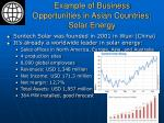 example of business opportunities in asian countries solar energy