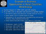 example of business opportunities in asian countries wind energy