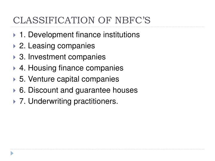 CLASSIFICATION OF NBFC'S